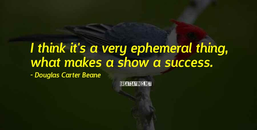 Douglas Carter Beane Sayings: I think it's a very ephemeral thing, what makes a show a success.