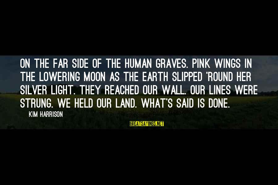 Dream For An Insomniac Famous Sayings By Kim Harrison: On the far side of the human graves. Pink wings in the lowering moon as