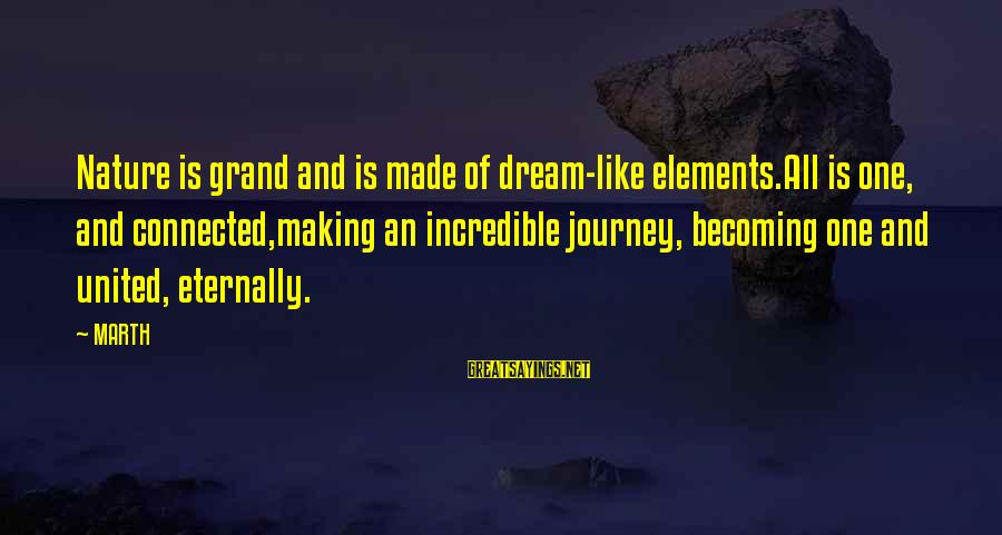 Dream Quotes And Sayings By MARTH: Nature is grand and is made of dream-like elements.All is one, and connected,making an incredible