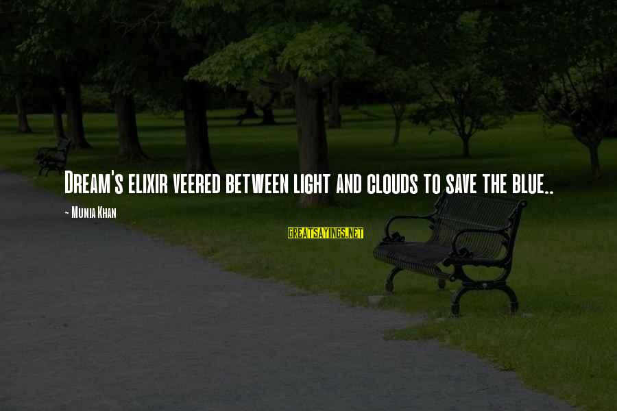 Dream Quotes And Sayings By Munia Khan: Dream's elixir veered between light and clouds to save the blue..