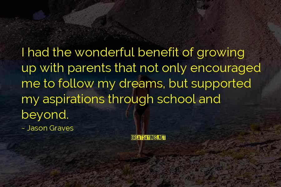 Dreams And Aspirations Sayings By Jason Graves: I had the wonderful benefit of growing up with parents that not only encouraged me