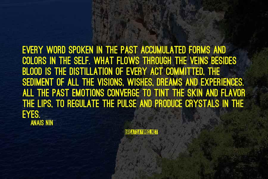 Dreams Visions Sayings By Anais Nin: Every word spoken in the past accumulated forms and colors in the self. What flows