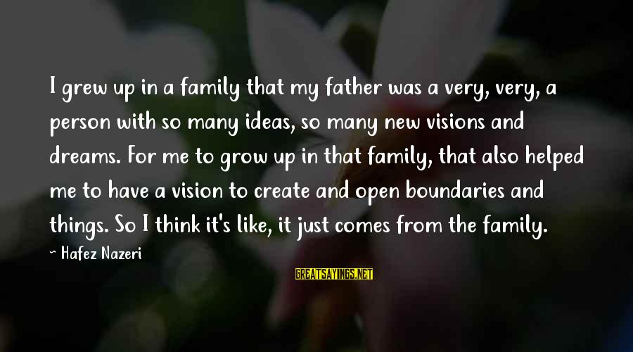 Dreams Visions Sayings By Hafez Nazeri: I grew up in a family that my father was a very, very, a person