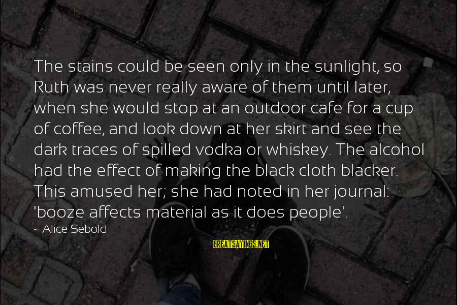 Drinking Too Much Alcohol Sayings By Alice Sebold: The stains could be seen only in the sunlight, so Ruth was never really aware