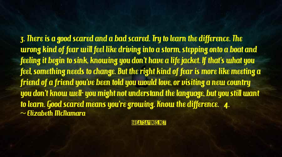 Driving Change Sayings By Elizabeth McNamara: 3. There is a good scared and a bad scared. Try to learn the difference.