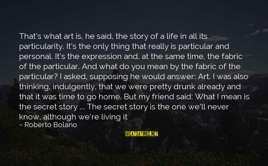 Drunk Friend Sayings By Roberto Bolano: That's what art is, he said, the story of a life in all its particularity.
