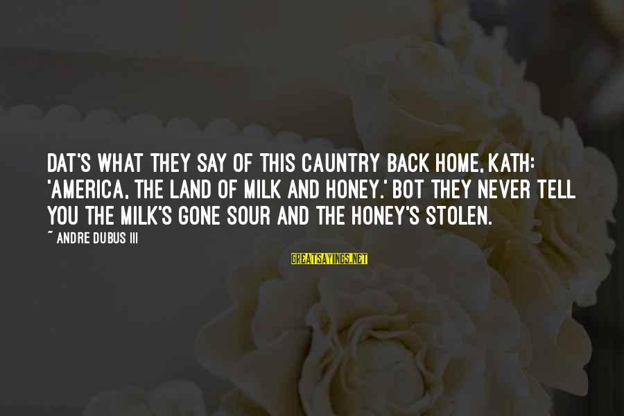 Dubus Sayings By Andre Dubus III: Dat's what they say of this cauntry back home, Kath: 'America, the land of milk