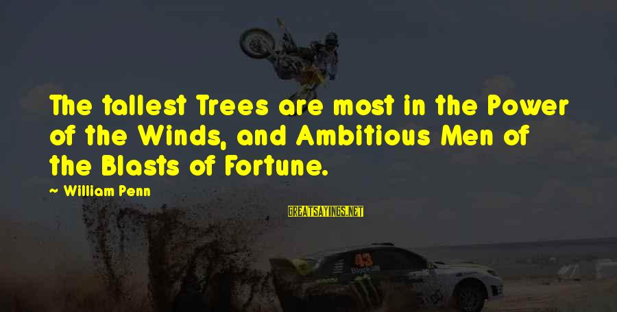 Dumbtalk Sayings By William Penn: The tallest Trees are most in the Power of the Winds, and Ambitious Men of