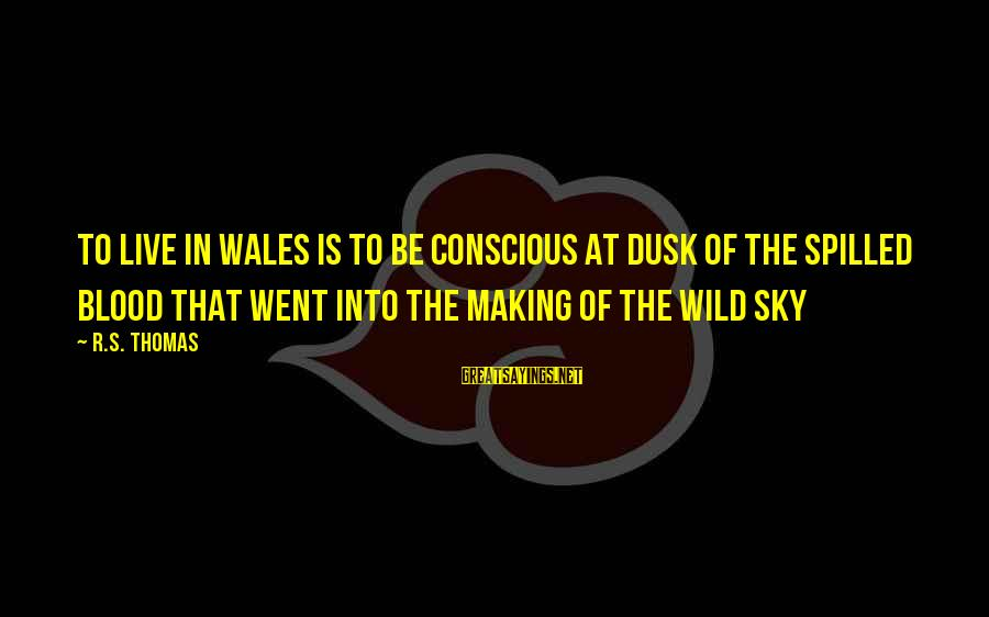 Dusk Sky Sayings By R.S. Thomas: To live in Wales is to be conscious at dusk of the spilled blood that