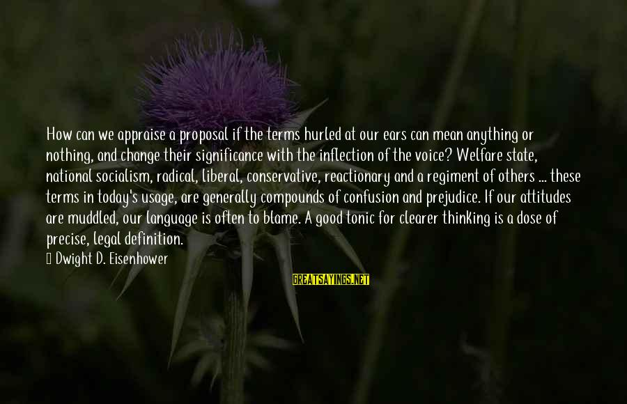 Dwight Eisenhower Sayings By Dwight D. Eisenhower: How can we appraise a proposal if the terms hurled at our ears can mean