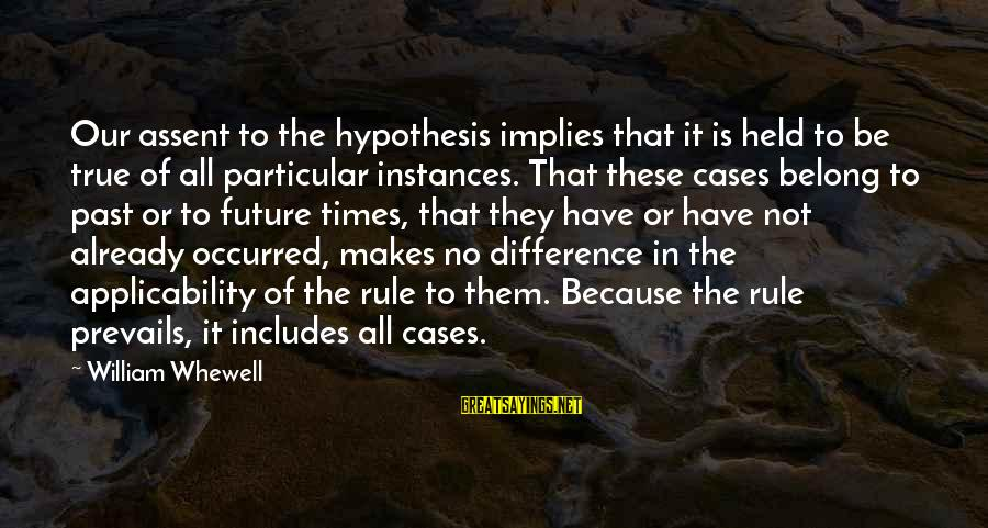 Dwmtm Sayings By William Whewell: Our assent to the hypothesis implies that it is held to be true of all