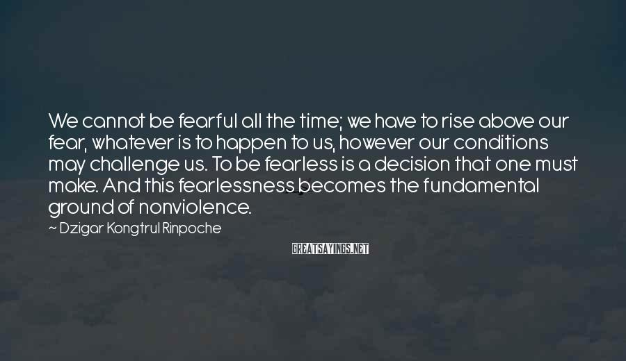 Dzigar Kongtrul Rinpoche Sayings: We cannot be fearful all the time; we have to rise above our fear, whatever