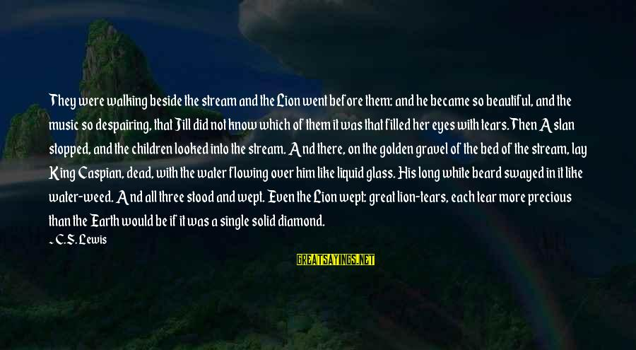 Earth's Water Sayings By C.S. Lewis: They were walking beside the stream and the Lion went before them: and he became