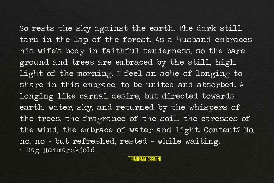 Earth's Water Sayings By Dag Hammarskjold: So rests the sky against the earth. The dark still tarn in the lap of