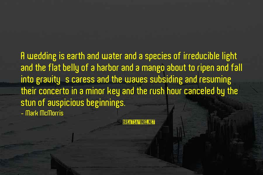 Earth's Water Sayings By Mark McMorris: A wedding is earth and water and a species of irreducible light and the flat