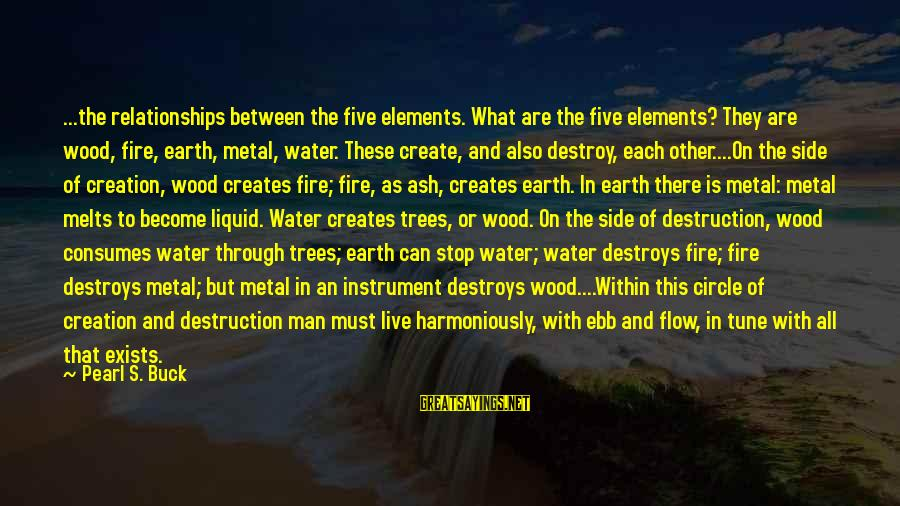 Earth's Water Sayings By Pearl S. Buck: ...the relationships between the five elements. What are the five elements? They are wood, fire,