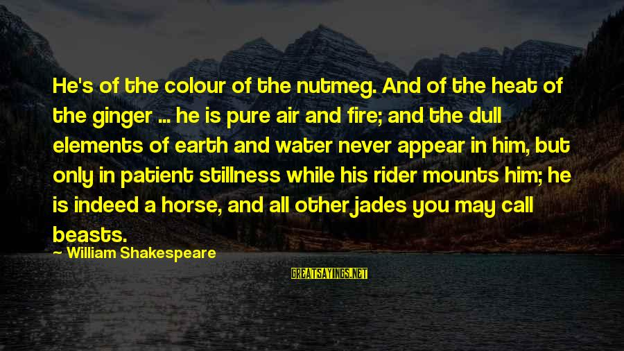 Earth's Water Sayings By William Shakespeare: He's of the colour of the nutmeg. And of the heat of the ginger ...