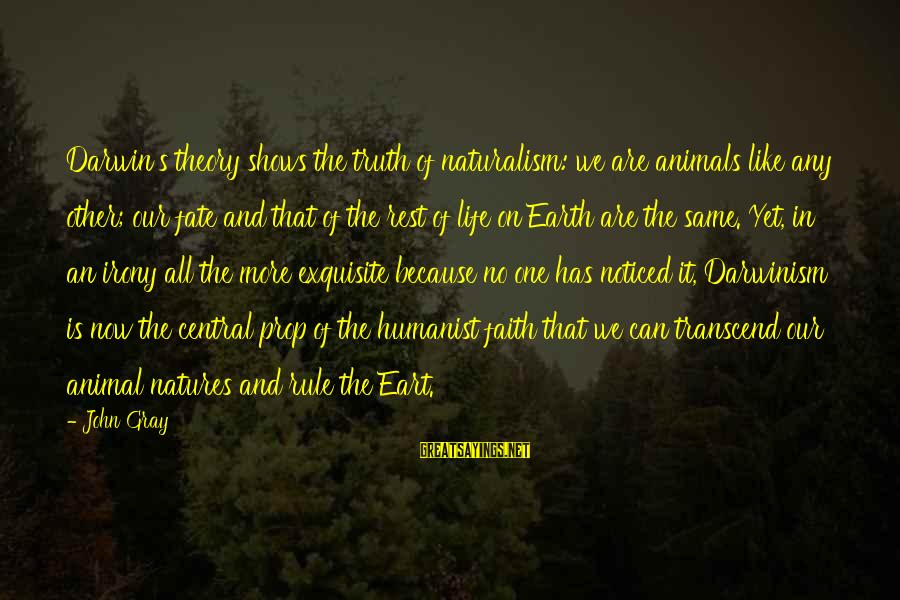 Eart's Sayings By John Gray: Darwin's theory shows the truth of naturalism: we are animals like any other; our fate