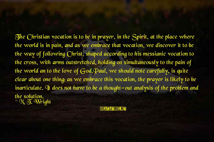 Eastertide Sayings By N. T. Wright: The Christian vocation is to be in prayer, in the Spirit, at the place where