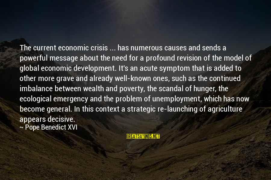 Ecological Crisis Sayings By Pope Benedict XVI: The current economic crisis ... has numerous causes and sends a powerful message about the