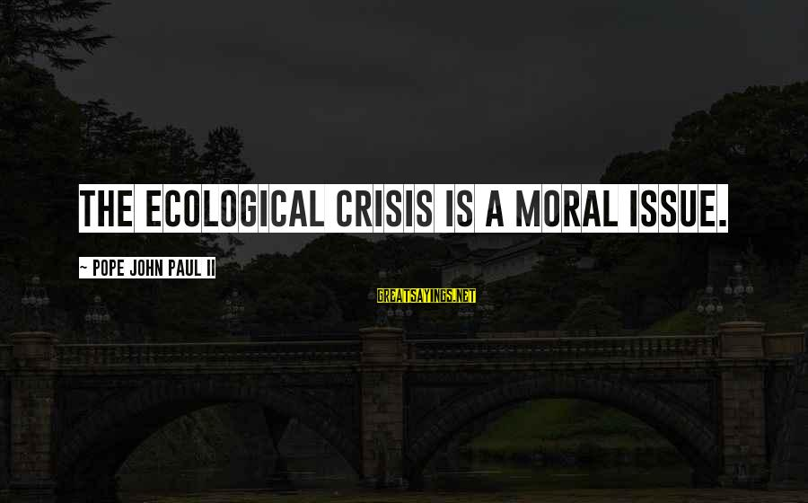 Ecological Crisis Sayings By Pope John Paul II: The ecological crisis is a moral issue.