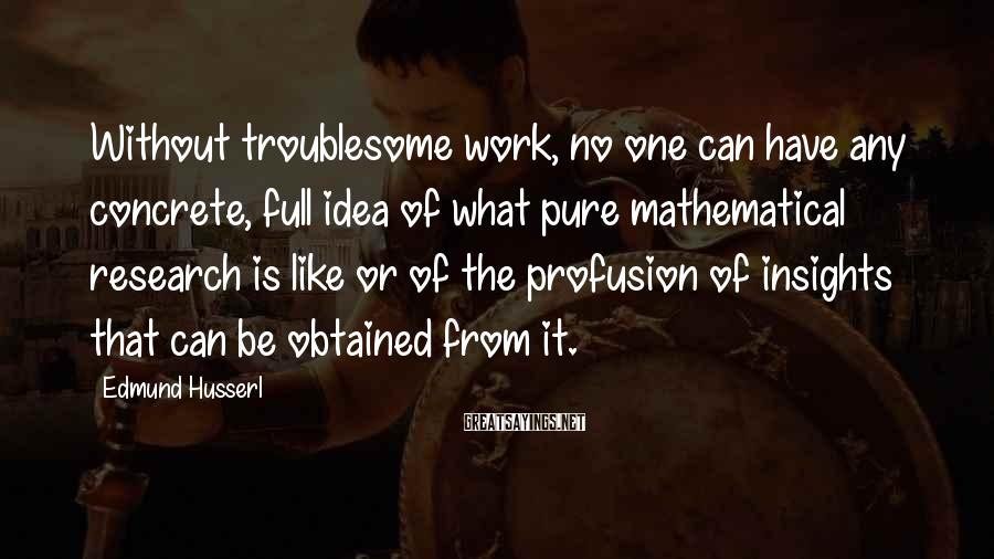 Edmund Husserl Sayings: Without troublesome work, no one can have any concrete, full idea of what pure mathematical
