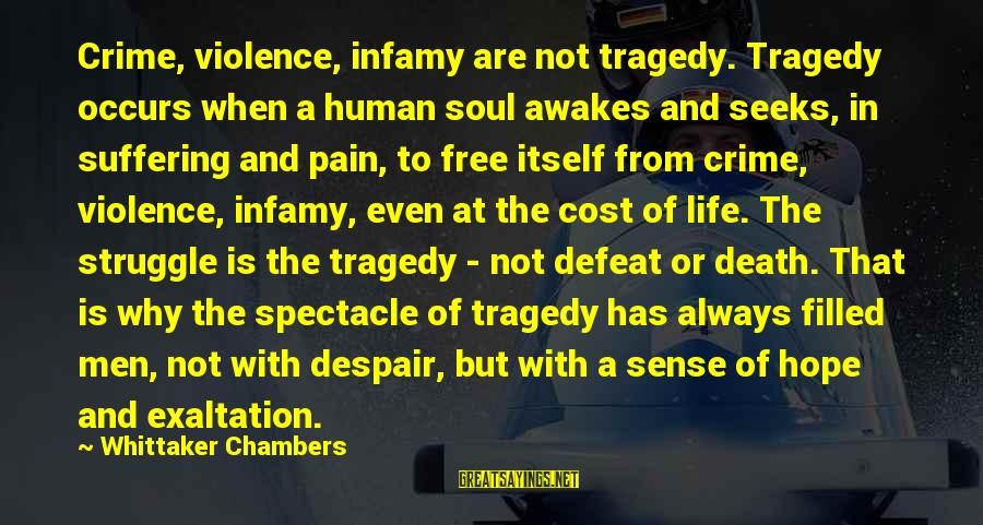 Edwina Gateley Sayings By Whittaker Chambers: Crime, violence, infamy are not tragedy. Tragedy occurs when a human soul awakes and seeks,