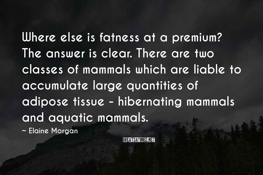 Elaine Morgan Sayings: Where else is fatness at a premium? The answer is clear. There are two classes
