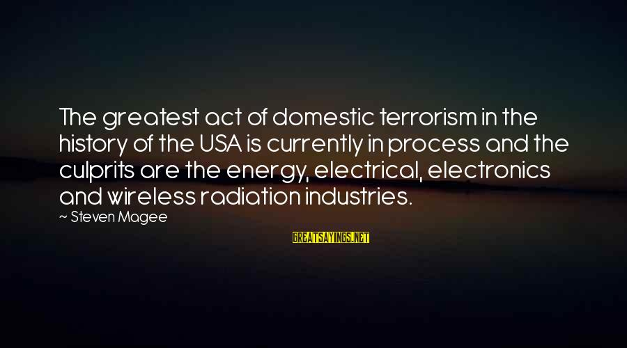 Electrical And Electronics Sayings By Steven Magee: The greatest act of domestic terrorism in the history of the USA is currently in