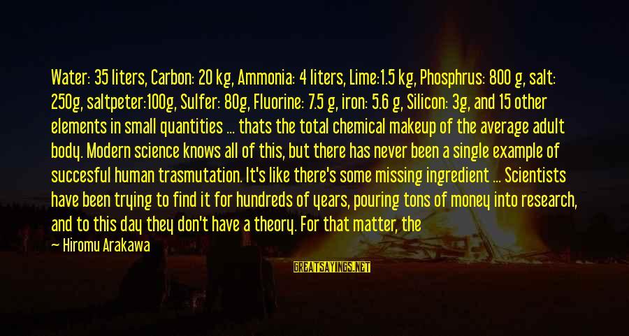 Elements Science Sayings By Hiromu Arakawa: Water: 35 liters, Carbon: 20 kg, Ammonia: 4 liters, Lime:1.5 kg, Phosphrus: 800 g, salt: