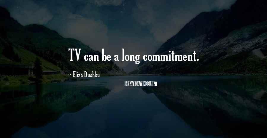 Eliza Dushku Sayings: TV can be a long commitment.