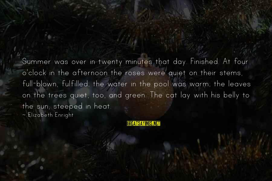 Elizabeth Enright Sayings By Elizabeth Enright: Summer was over in twenty minutes that day. Finished. At four o'clock in the afternoon
