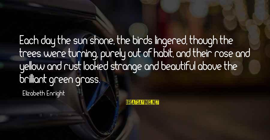 Elizabeth Enright Sayings By Elizabeth Enright: Each day the sun shone, the birds lingered, though the trees were turning, purely out