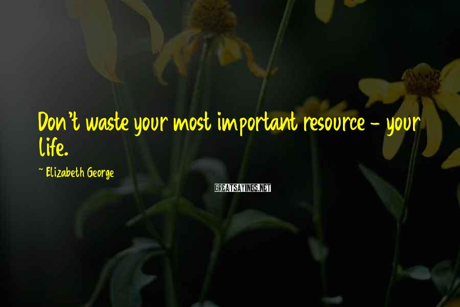 Elizabeth George Sayings: Don't waste your most important resource - your life.
