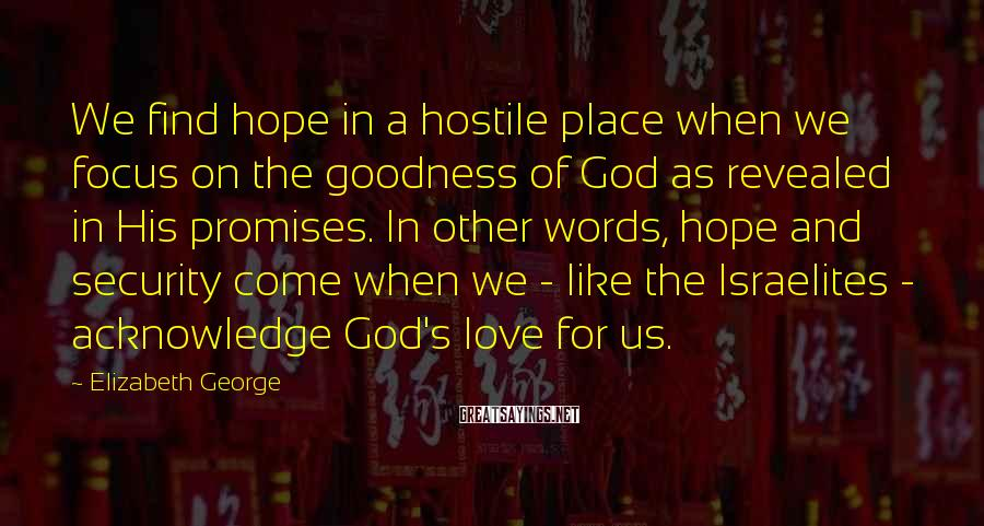 Elizabeth George Sayings: We find hope in a hostile place when we focus on the goodness of God