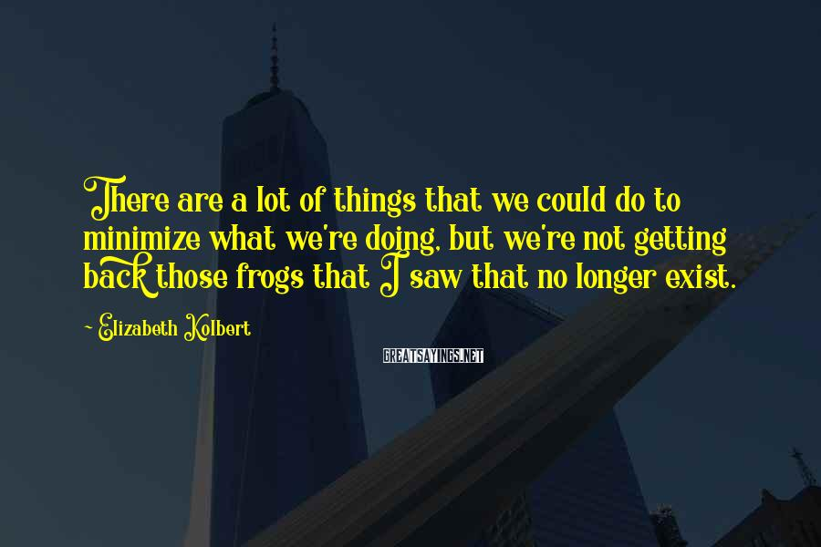 Elizabeth Kolbert Sayings: There are a lot of things that we could do to minimize what we're doing,
