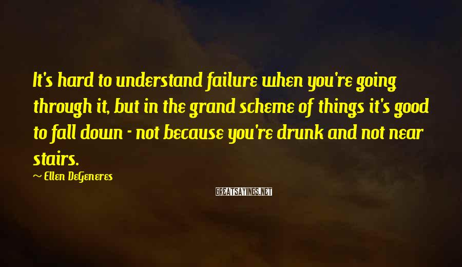 Ellen DeGeneres Sayings: It's hard to understand failure when you're going through it, but in the grand scheme