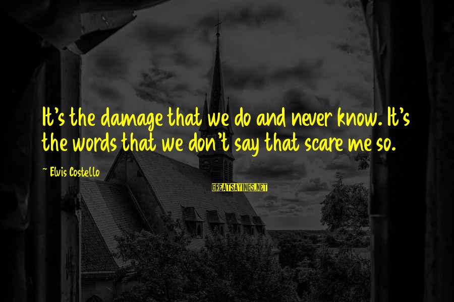 Elvis's Sayings By Elvis Costello: It's the damage that we do and never know. It's the words that we don't