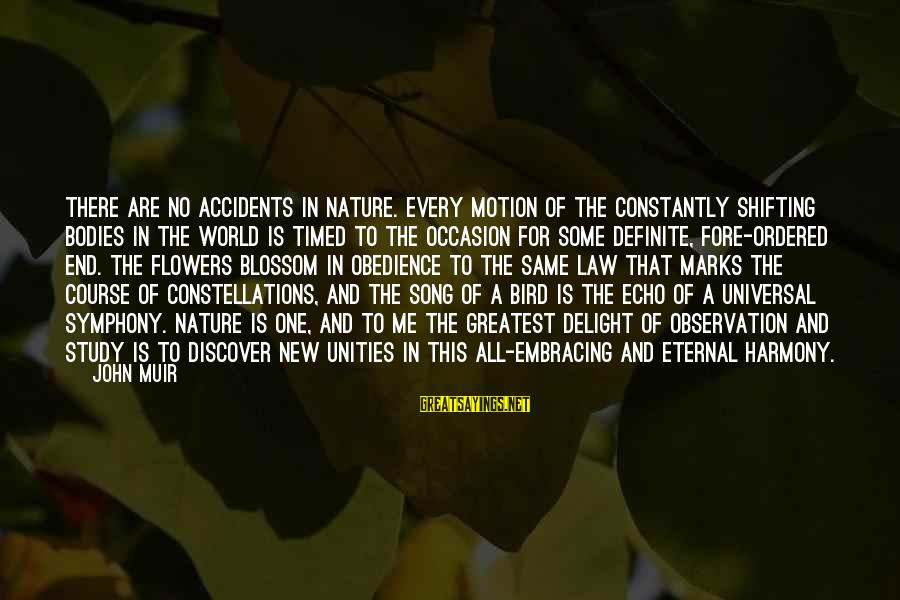 Embracing The World Sayings By John Muir: There are no accidents in Nature. Every motion of the constantly shifting bodies in the