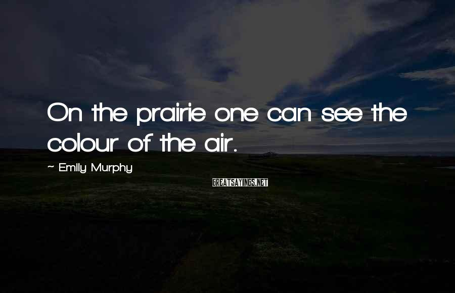 Emily Murphy Sayings: On the prairie one can see the colour of the air.