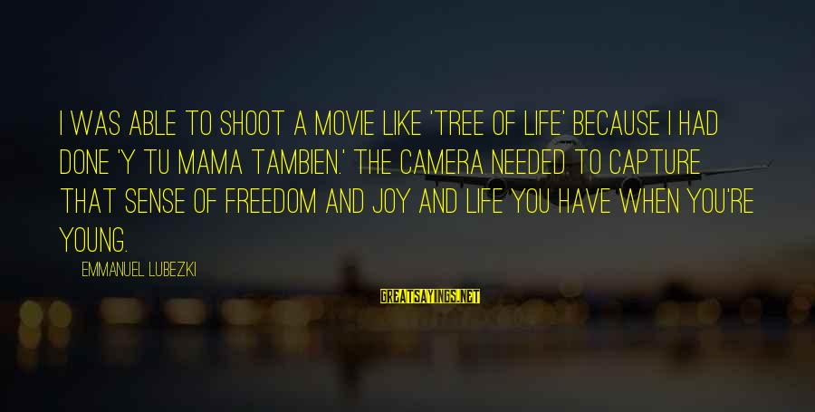 Emmanuel Sayings By Emmanuel Lubezki: I was able to shoot a movie like 'Tree of Life' because I had done