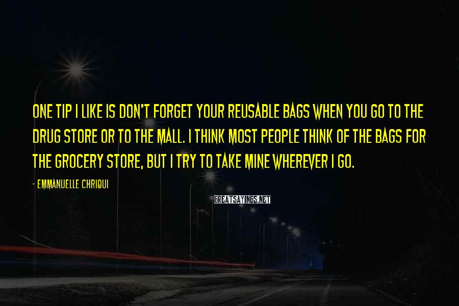 Emmanuelle Chriqui Sayings: One tip I like is don't forget your reusable bags when you go to the