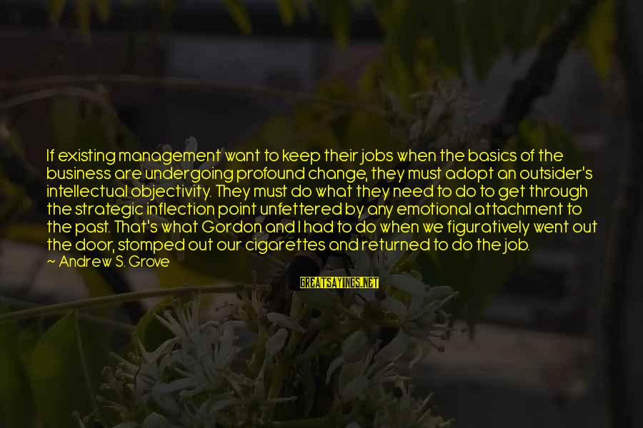 Emotional Management Sayings By Andrew S. Grove: If existing management want to keep their jobs when the basics of the business are