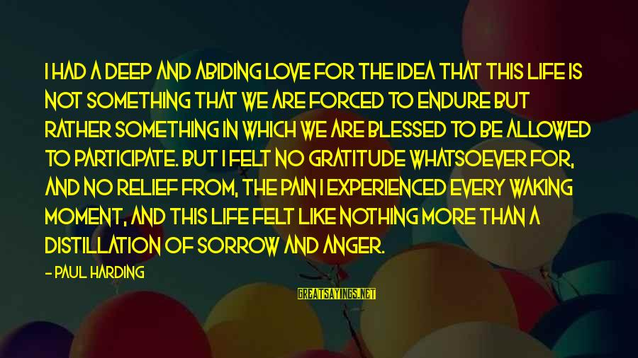 Endure Pain Love Sayings By Paul Harding: I had a deep and abiding love for the idea that this life is not