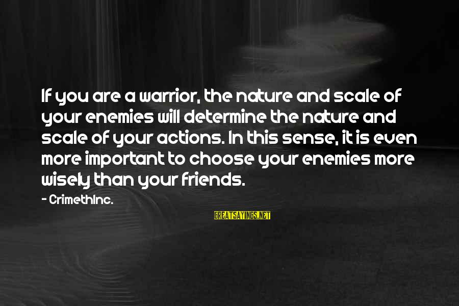 Enemies In War Sayings By CrimethInc.: If you are a warrior, the nature and scale of your enemies will determine the