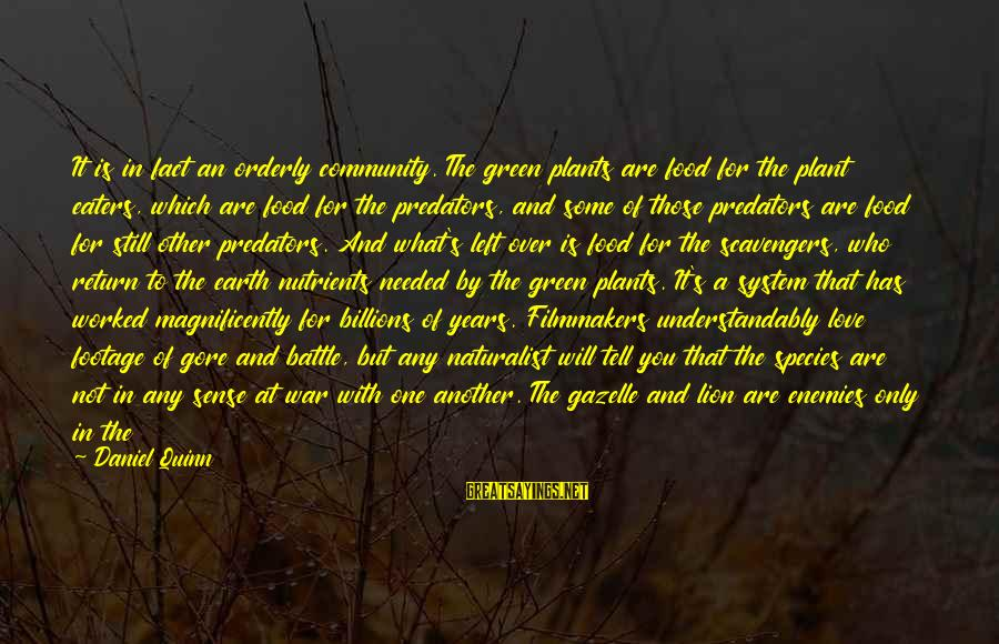 Enemies In War Sayings By Daniel Quinn: It is in fact an orderly community. The green plants are food for the plant