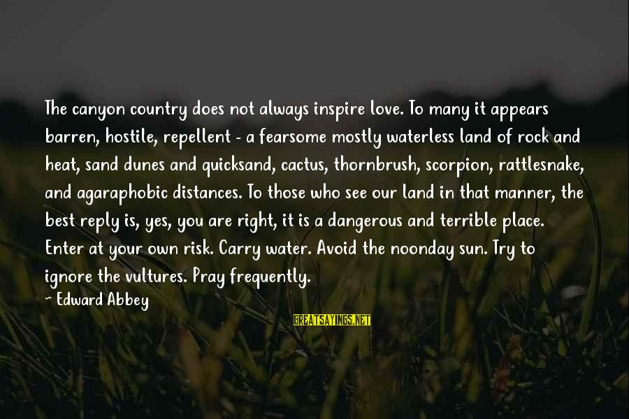 Enter Your Own Sayings By Edward Abbey: The canyon country does not always inspire love. To many it appears barren, hostile, repellent