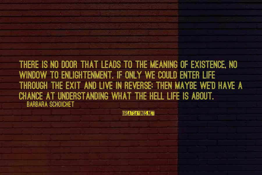 Enter'd Sayings By Barbara Schoichet: There is no door that leads to the meaning of existence, no window to enlightenment.