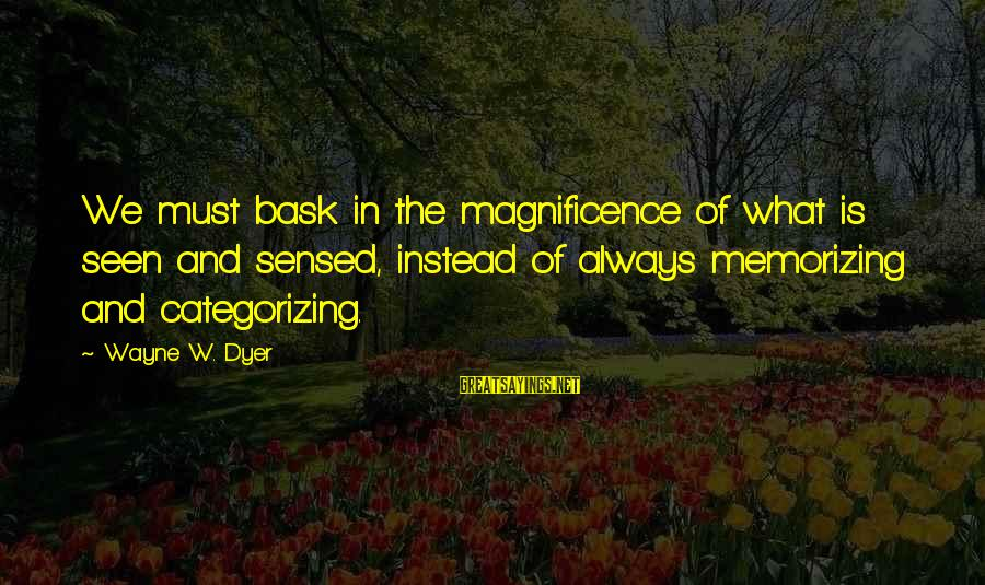 Entrants Sayings By Wayne W. Dyer: We must bask in the magnificence of what is seen and sensed, instead of always