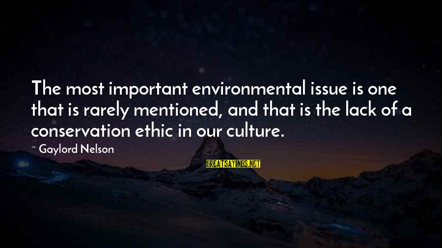 Environmental Issue Sayings By Gaylord Nelson: The most important environmental issue is one that is rarely mentioned, and that is the